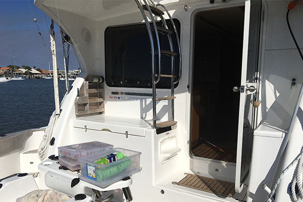 Image of entrance to cabin on the Kaizen 52 fishing vessel