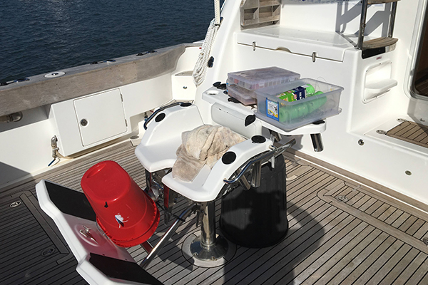 Image of teak fishing deck on the Kaizen 52 fishing vessel